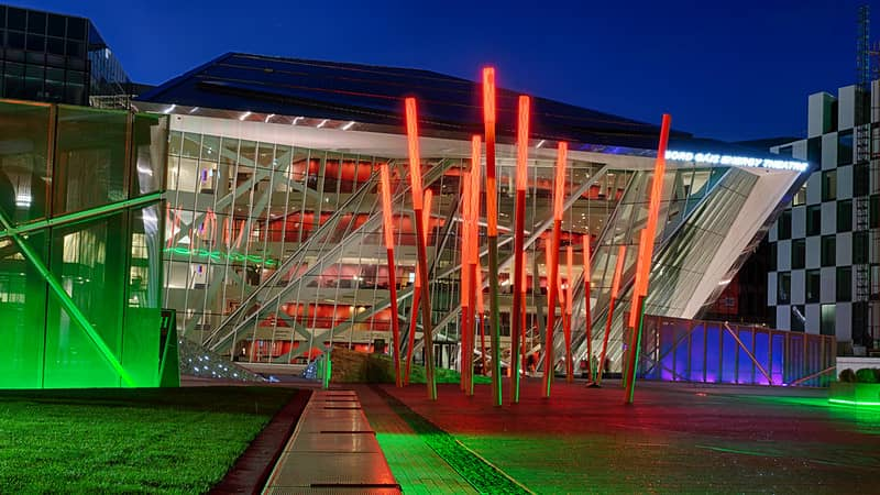 Bord Gais Energy Theatre Dublin Lit up at night in red green and blue