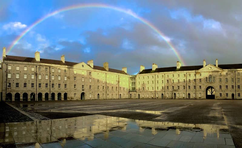 Dublins Collins Barracks with Rainbow in the wet