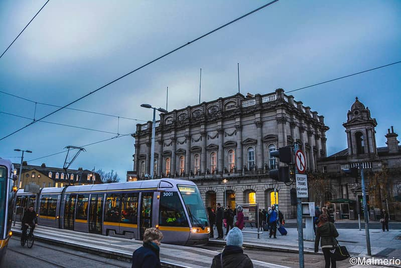 Dublins Heuston Station With a Luas Tram in front
