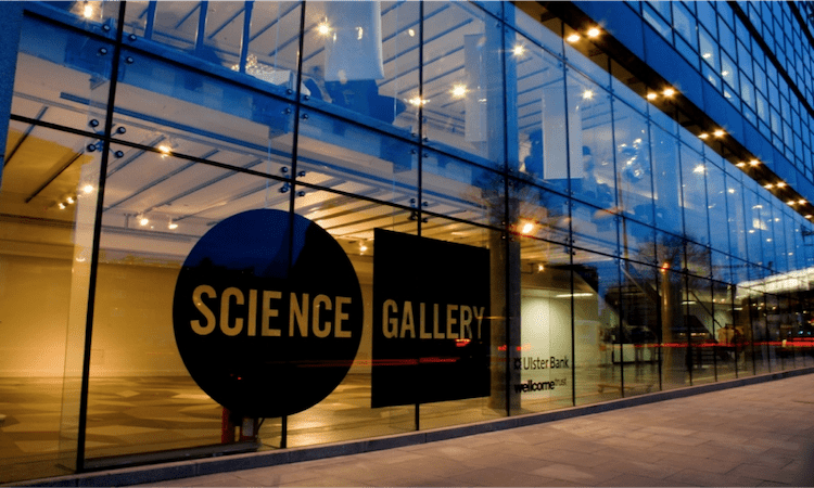 Dublins Science Gallery Glass Front Doors with sign