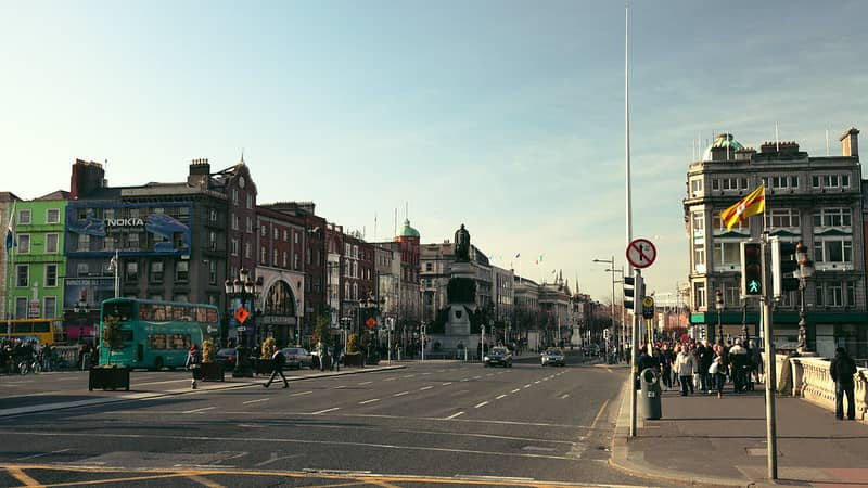 O'Connell Street Dublin from the Bridge looking towards the postoffice and cLEARys