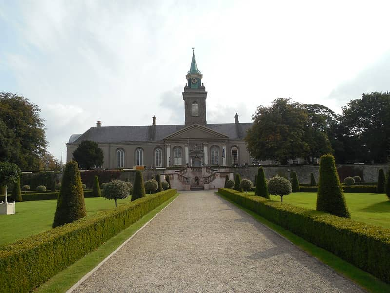 The Irish Museum of Modrn Art in Dublin From the gardens with box hedging each side