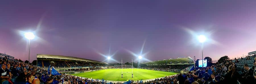 The RDS Arena lit up at night for a rugby match-2